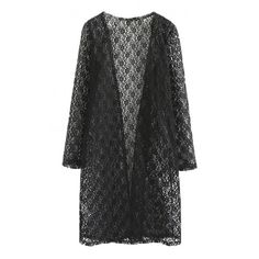 Sheer Lace Plain Long Sleeve Collarless Longline Coat ($16) ❤ liked on Polyvore featuring outerwear, coats, longline coat, long sleeve coat, collarless coat and long coat