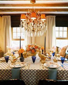 Antique Imari plates highlight the orange and cobalt