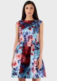 Multi Panel Gathered Floral Print Dress