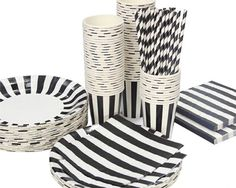 Birthday Party/ Baby Showers/ Tea Party/ Graduation Celebrations/ Wedding Party Accessory Complete Party Tableware Pack Kit All in One Bundle Set - Included Biodegradable Stripe Pattern Paper Plates, Cups, Straws, Napkins - Black DSstyles http://www.amazon.com/dp/B00PXTG0KM/ref=cm_sw_r_pi_dp_QknSwb1WY0812