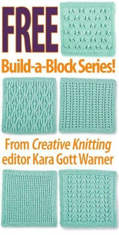 We hope you enjoy Creative Knitting editor Kara Gott Warner's FREE Build-a-Block Series! The series includes 5 stitch block patterns: Lacy Eyelet Vines, Smocked Trellis, Easy Peasy Knits & Purls, Delicate Rosettes, Simple Ladders. Go here for free tutoria Knitted Squares Pattern, Knitting Squares, Knitting Stiches, Knitting Blogs, Knitting Patterns Free, Knitting Projects, Crochet Stitches, Stitch Patterns, Knit Crochet