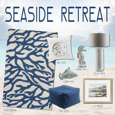 Surya offers a large assortment of rugs and accessories inspired by marine life and ocean views in a soothing palette reflective of the sandy beach and cool blue sky.