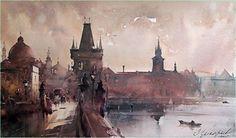 Dusan Djukaric. Prague, Old city, 55x33 cm.