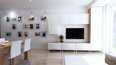 salon ściana z zdjęciami projekt mieszkania