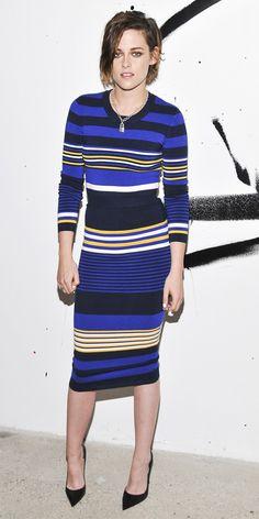Kristen Stewart in a blue striped Torn by Ronny Kobo matching set