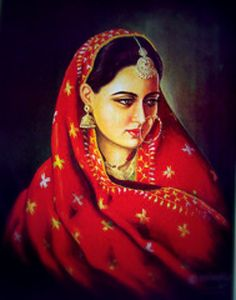 "A traditional ""Punjaban"" or Punjabi female portrait donning a ""phulkari"" or traditional embroidery shawl"