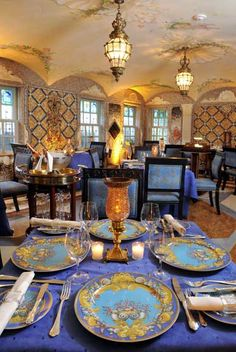 The Versace Mansion, Miami -- The dining room is decorated with mosaics and frescoes
