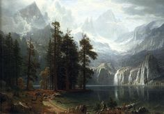 "Albert Bierstadt's ""Sierra Nevada"" - his landscapes are usually huge and always breathtaking."