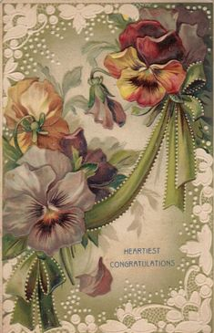 Pansies Vintage Congratulations Postcard with purple and magenta-yellow pansies. Decoupage Vintage, Vintage Diy, Vintage Labels, Vintage Ephemera, Vintage Paper, Images Vintage, Vintage Pictures, Etiquette Vintage, Vintage Seed Packets