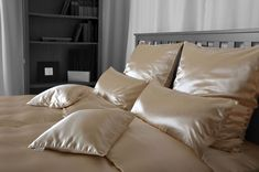 Trouble with dry skin during these last winter months? Silk sheets like these fr. Silk Sheets, Silk Bedding, Winter Months, Lounge, Furniture, Bed Linen, Apartments, Bedroom Ideas, Decor