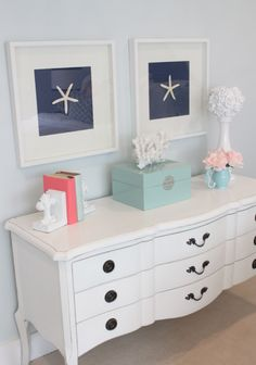 Starfish on navy. Ignore the other girly stuff...but this is a cheap easy decor idea that you could reuse in his room afterwards.
