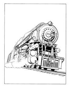 Printable Vehicle Coloring pages of railroad and trains, steam engine trains coloring page sheets and railroad history coloring sheets Train Coloring Pages, Easy Coloring Pages, Free Adult Coloring Pages, Animal Coloring Pages, Printable Coloring Sheets, Coloring Books, Train Tattoo, Perspective Drawing Lessons, Train Illustration