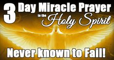 3 Day Miracle Prayer To The Holy Spirit Say this prayer to the Holy Spirit for three consecutive days Spirit of wisdom and understanding, enlighten our minds to perceive the mysteries of the universe in relation to eternity. Spirit of right judgment and courage, guide us and make us firm in our baptismal decision to … Read More Read More