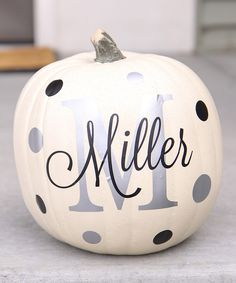 Look what I found on #zulily! Silver & Black Personalized Pumpkin Set by TheVinylCompany #zulilyfinds