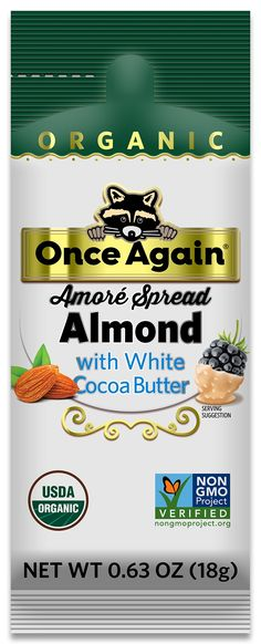 Amoré Organic Almond Spread with White Chocolate - 1.15 oz Squeeze Packs, 10 Count - .63oz Squeeze Pack / Box of 10