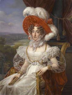 Ducluzeau painting c1830, jewelled attifet, partlet, epauletters, upper puffed sleeves, higher waistline