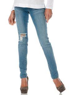 Destination Maternity Celebrity Pink Jeans Secret Fit Belly(r) Destructed Skinny Leg Maternity Jeans #destructeddenim