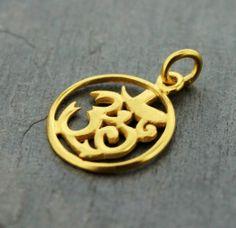 Gold Plated Circle OM Pendant - Dharmashop.com