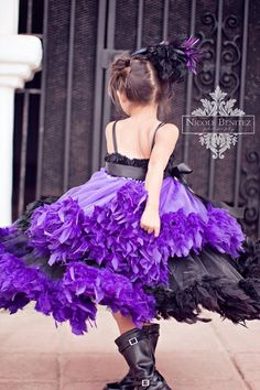   Feather Dresses   Purple + Black Tutu Dress with Feathers I love the boots