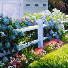 Cape cod hydrangeas oil on canvas Susan Hollis artist
