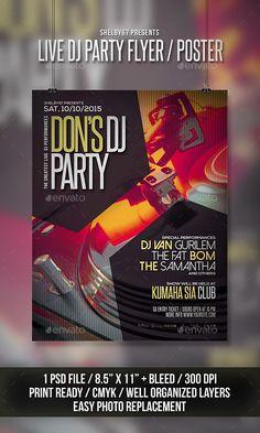 Live DJ Party Flyer / Poster Template PSD #design Download: http://graphicriver.net/item/live-dj-party-flyer-poster/13142998?ref=ksioks