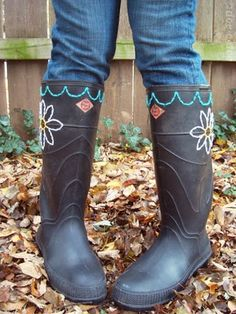 TO DO: Embroider the old garden rubber boots..add some funky embellishments, too. Poke holes and stitch away!