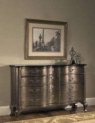 Three-drawer chest in silver and bronze with a black granite top and curving front. Product: ChestConstruction Material: Hardwood, veneers and granite Color: Silver, black and bronze Features: Curving frontThree drawersDimensions: H x W x D Parks Furniture, Chest Furniture, Furniture Making, Home Furniture, Pulaski Furniture, Sofa Tables, Beige Walls, Traditional Design, Interior Design