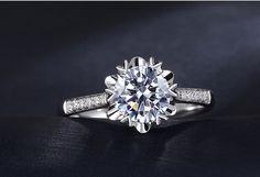 18K White Gold Snow flake Moissanite Ring door Donatellajewelry