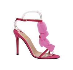 Christian Louboutin, Sharon, A pair of fuchsia suede strappy sandals, Loved by Carrie Bradshaw.