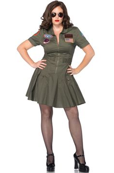 Top Gun Women's Flight Dress Plus Size Costume for Halloween - Pure Costumes