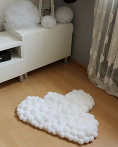 Cloud Pom Pom Nursery Rug for Baby Room This cloud rug will complete perfectly your babys room. Its delicate, its soft – simple perfection. Baby Nursery Rugs, Baby Room Rugs, Clouds Nursery, Baby Room Decor, Room Baby, Playroom Rug, Pom Pom Rug, Creation Deco, Handmade Rugs