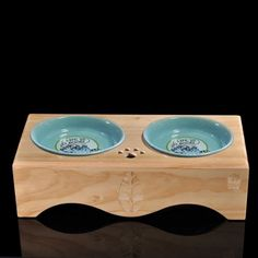 CoCo@ Premium Elevated Dog and Cat Wood Diner Pet Feeder,Pet Food Bowls,Raised Stand Wooden Dining Table Platform feeding station with Two Double Top Grade blue Ceramic Stoneware Bowls (Leaves style) ~~ You could get additional details at the image link. (This is an affiliate link and I receive a commission for the sales)