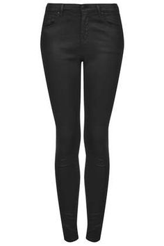 MOTO Black Coated Leigh Jeans - Leigh Skinny Jeans - Jeans - Clothing