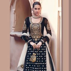 Black Faux Georgette Abaya Style Churidar Kameez. click on pick to full pic. it's pretty