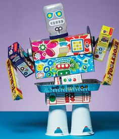 8 Great Craft Kits To keep Kids Entertained. My boys will love making this robot from recycled materials