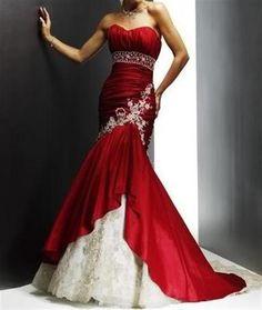 prachtige rode zeemeermins bruidsjurk.