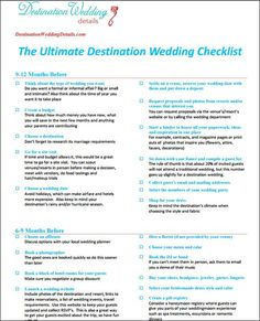 The Best Destination Wedding Checklist  Destination Wedding