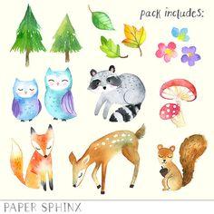 Woodland handgemalte Aquarelle Clipart Fuchs Eule von PaperSphinx
