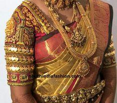 Kasu embellished blouse designs for silk saree<br> Wedding Saree Blouse Designs, Silk Saree Blouse Designs, Wedding Blouses, Maggam Work Designs, Stylish Blouse Design, Designer Blouse Patterns, Blouse Models, Wedding Dress, Wedding Bride