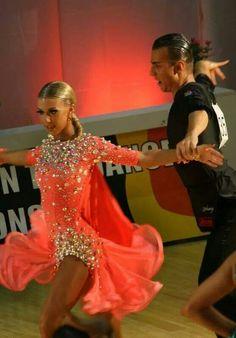 Amazing pink-orange latin ballroom dress