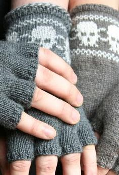 Skully Fingerless Gloves Pattern by Camille Chang