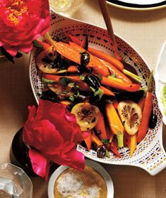 Carrots With Spicy Olive-Lemon Oil   What's more wonderful than an evening around the table with good friends? This easy-to-execute game plan ensures that the meal will be delicious, the company delightful, and the host (that's you) relaxed, happy, and nowhere near the kitchen.