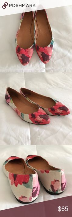 Madewell Sidewalk Skimmer Floral Beautiful floral pattern on the outer fabric, and a leather interior. Size 7. Madewell Shoes Flats & Loafers