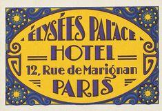 Élysées Palace Hotel Label | Golden Age of Travel Art Prints