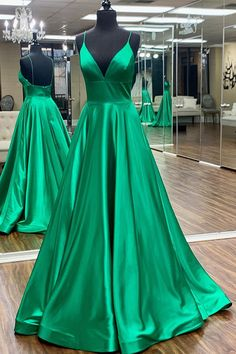 A-Line Long Green Satin Prom Dresses Formal Evening Gowns 6011552 Long Prom Dresses Uk, Prom Dresses With Pockets, Affordable Prom Dresses, Unique Prom Dresses, Formal Dresses, Prom Gowns, Formal Prom, Green Satin, Evening Gowns