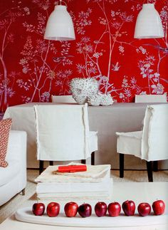 Chinoiserie wallpaper 'Portobello' design in full custom monochromatic design colours on Scarlet Lady dyed silk.