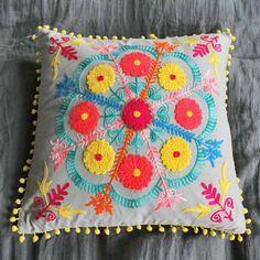 embroidered gypsy caravan cushions