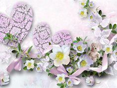 Heart-shaped flores e urso de peluche Papéis de Parede - 1024x768