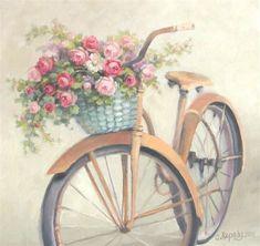 illustration, bicycle, flowers, retro