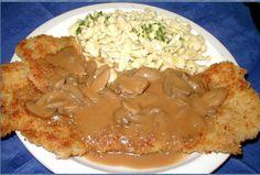 Jaegerschnitzel mit Spaetzle